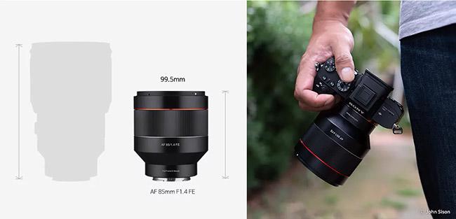 AF 85mm f/1.4 FE size