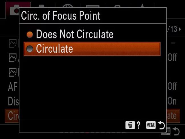 sony a9 circof focus point