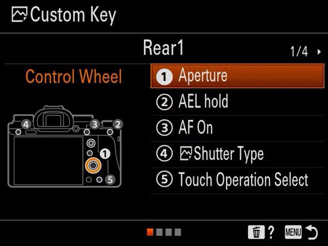 sony a9 custom key