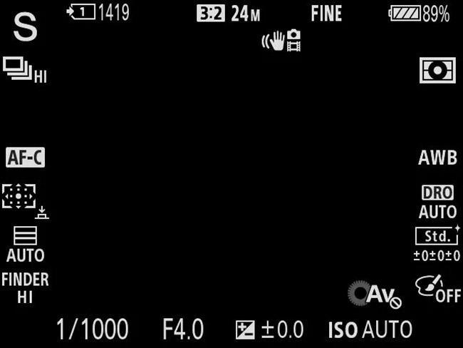 sony a9 screen