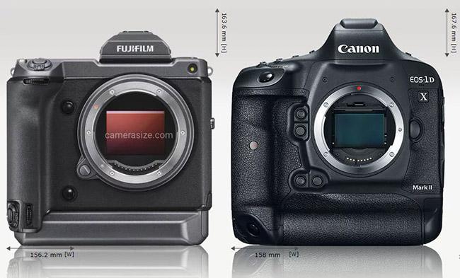 compare fujifilm gfx 100 canon 1d x mark ii size