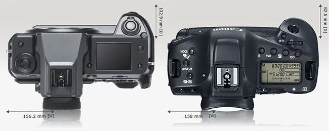 compare fujifilm gfx 100 canon 1d x mark ii top view