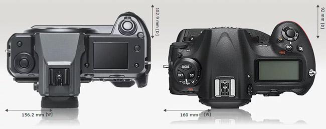 compare fujifilm gfx 100 nikon d5 top view