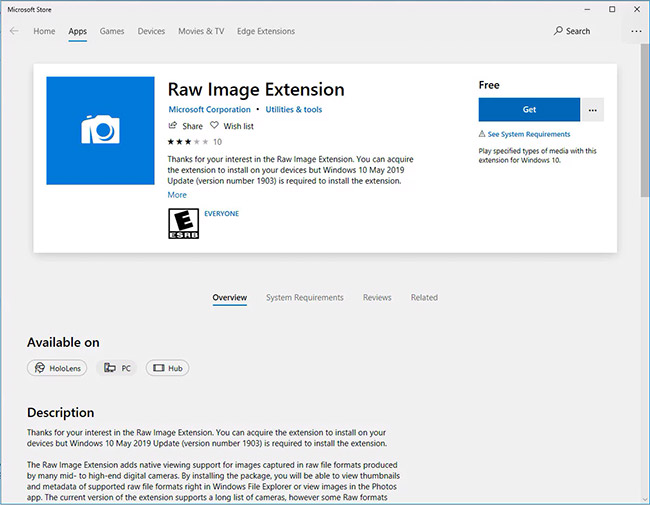 windows 10 raw image extension store