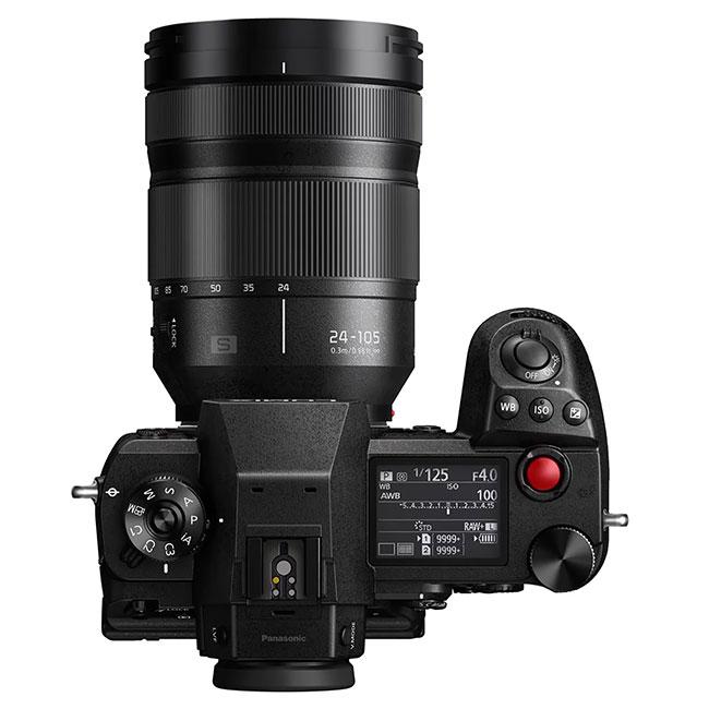 panasonic lumix s1h with lens top view